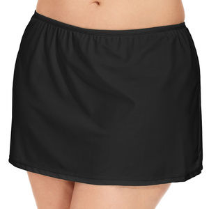 Island Escape Plus Size Solid Swim Skirt Black 24W